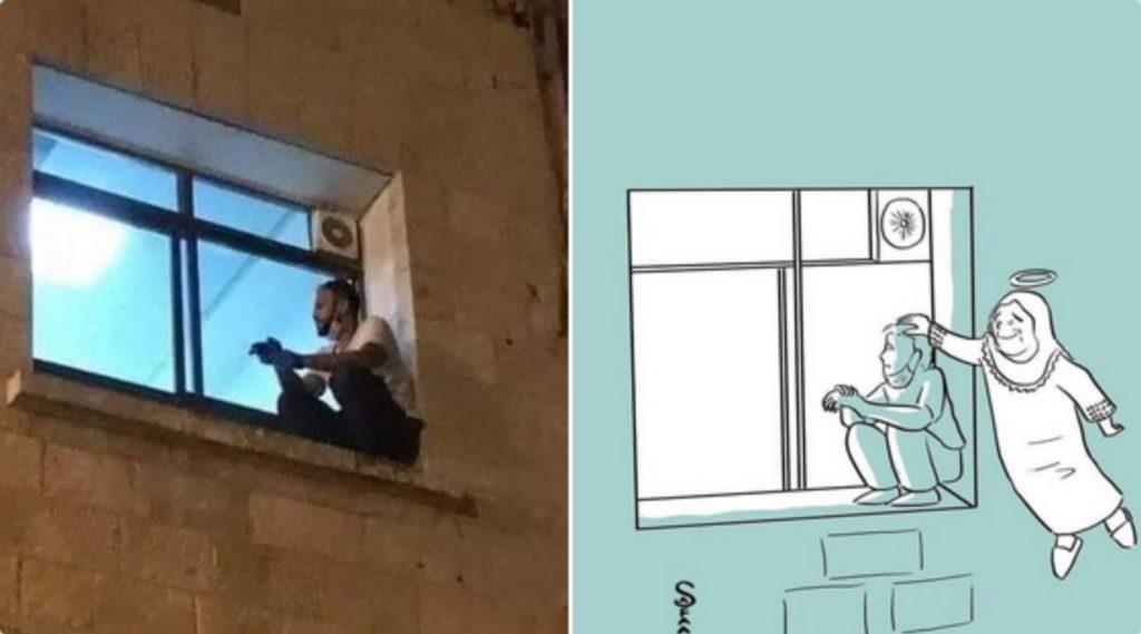 Jovem sobe até janela de hospital