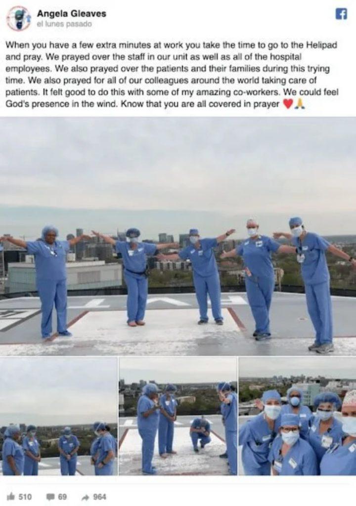 médicos e enfermeiros orando em hospitais