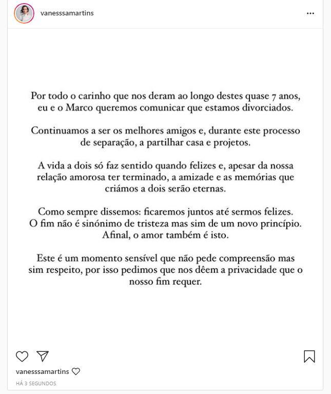 Divórcio de Vanessa Martins e Marco Costa
